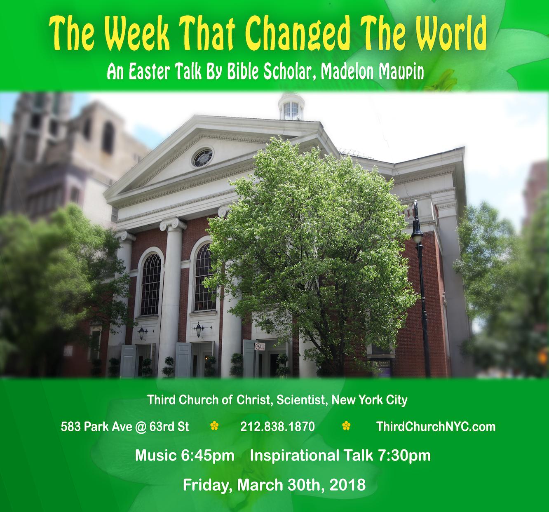 Easter Talk 2018 Third Church Of Christ Scientist Nyc